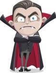 Little Vampire Kid Vector Cartoon Character - Waiting with Crossed Hands