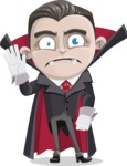 Little Vampire Kid Vector Cartoon Character - Waving for Goodbye with a Hand