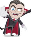 Little Vampire Kid Vector Cartoon Character - Waving for Welcome with a Hand