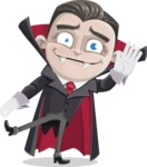 Little Vampire Kid Vector Cartoon Character - Waving