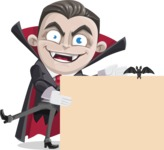 Little Vampire Kid Vector Cartoon Character - With a Blank Halloween Sign with a Bat