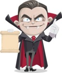 Little Vampire Kid Vector Cartoon Character - With a Blank Scroll