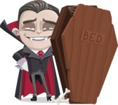 Little Vampire Kid Vector Cartoon Character - With a Coffin as Bed