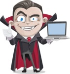 Little Vampire Kid Vector Cartoon Character - With a Computer