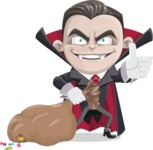 Little Vampire Kid Vector Cartoon Character - With a lot of Halloween Treats