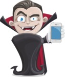 Little Vampire Kid Vector Cartoon Character - With a Phone
