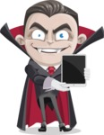 Little Vampire Kid Vector Cartoon Character - With a Tablet
