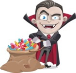 Little Vampire Kid Vector Cartoon Character - With Bag full of Halloween Treats