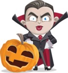 Little Vampire Kid Vector Cartoon Character - With Big Halloween Pumpkin