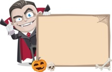 Little Vampire Kid Vector Cartoon Character - With Blank Halloween Whiteboard