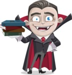 Little Vampire Kid Vector Cartoon Character - With Books