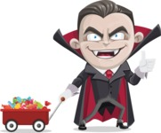 Little Vampire Kid Vector Cartoon Character - With Candy Wagoon