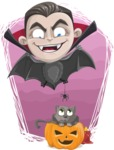 Little Vampire Kid Vector Cartoon Character - With Cat Illustration