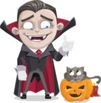 Little Vampire Kid Vector Cartoon Character - With Cat