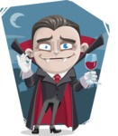 Little Vampire Kid Vector Cartoon Character - With Flat Night Background