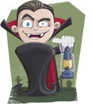 Little Vampire Kid Vector Cartoon Character - With Graveyard Background