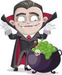 Little Vampire Kid Vector Cartoon Character - With Halloween Caldron