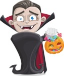 Little Vampire Kid Vector Cartoon Character - with Halloween Pumpkin and Candies