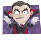 Little Vampire Kid Vector Cartoon Character - With Halloween Pumpkins Background