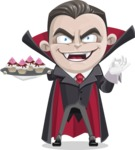 Little Vampire Kid Vector Cartoon Character - With Halloween Sweets