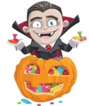 Little Vampire Kid Vector Cartoon Character - With Huge Pumpkin full of Treats