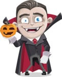 Little Vampire Kid Vector Cartoon Character - With Pumpkin