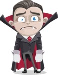 Little Vampire Kid Vector Cartoon Character - With Sad Face