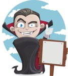 Little Vampire Kid Vector Cartoon Character - With Sky Background and a Sign