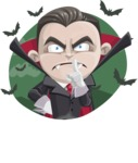 Little Vampire Kid Vector Cartoon Character - With Vampire Background with Bats