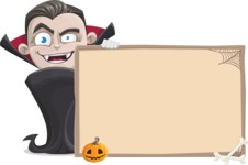 Little Vampire Kid Vector Cartoon Character - With Whiteboard on Halloween Theme