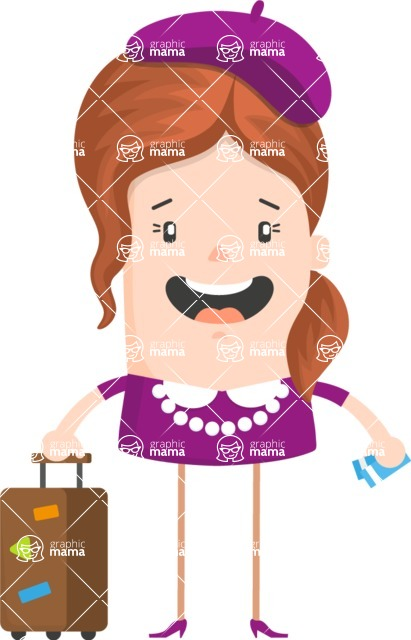 Funny Vector Cartoon Graphic Maker - Simple female travelling character