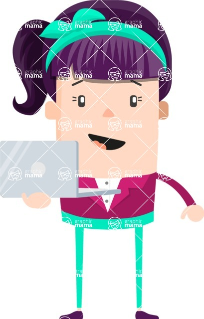 Make Me Your Vector Star - Girl with purple hair and laptop