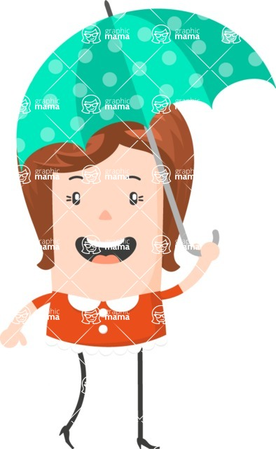 Funny Vector Cartoon Graphic Maker - Cheerful lady with bright umbrella