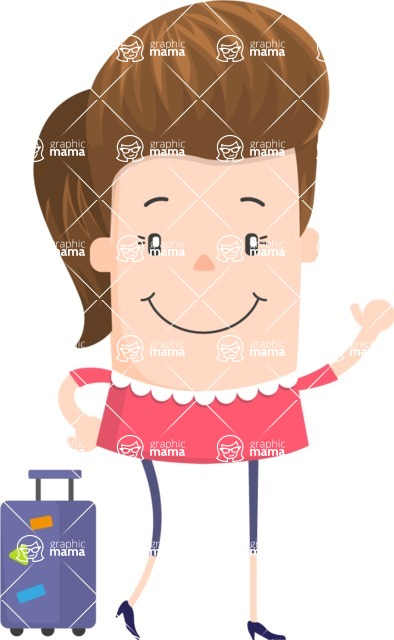 Funny Vector Cartoon Graphic Maker - Stylish friendly female traveller