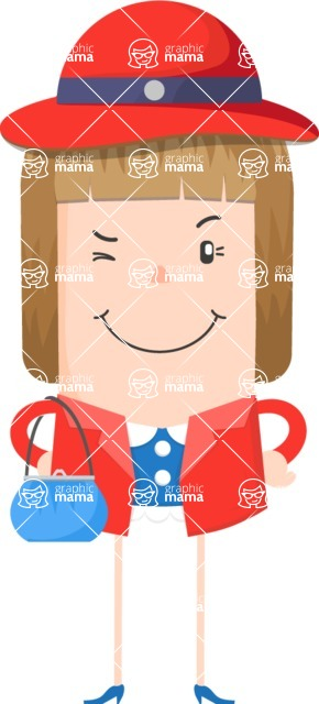 Funny Vector Cartoon Graphic Maker - Winking confident lady