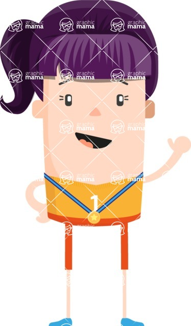 Funny Vector Cartoon Graphic Maker - Positive girl with pony tail