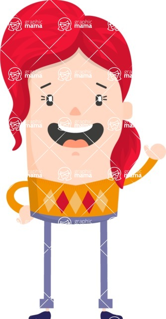 Funny Vector Cartoon Graphic Maker - Red-haired woman with sweater