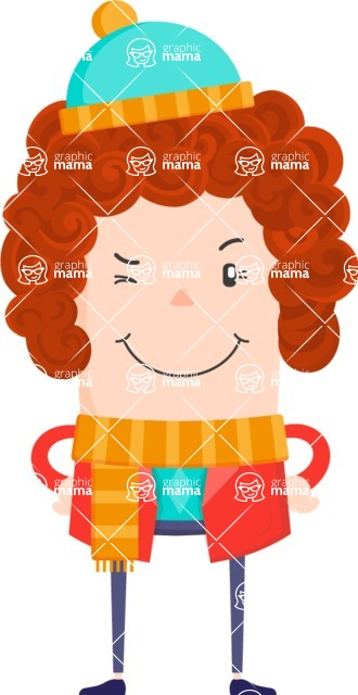 Funny Vector Cartoon Graphic Maker - Winking girl with scarf