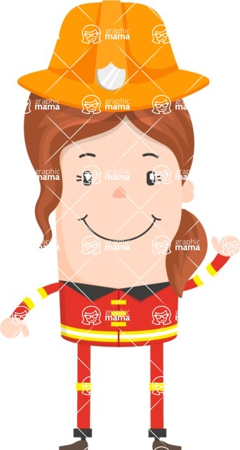 Funny Vector Cartoon Graphic Maker - Smiling firefighter woman