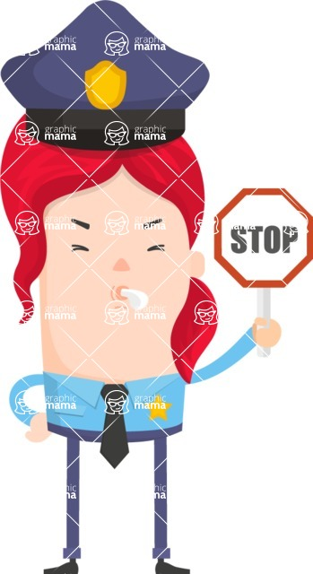 Funny Vector Cartoon Graphic Maker - Police officer with stop sign