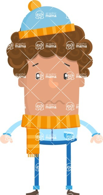 Funny Vector Cartoon Graphic Maker - Freezing winter curly guy