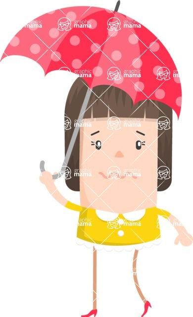 Make Me Your Vector Star - Shy worried girl with umbrella