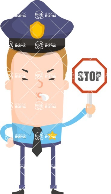 Make Me Your Vector Star - Policeman with stop sign