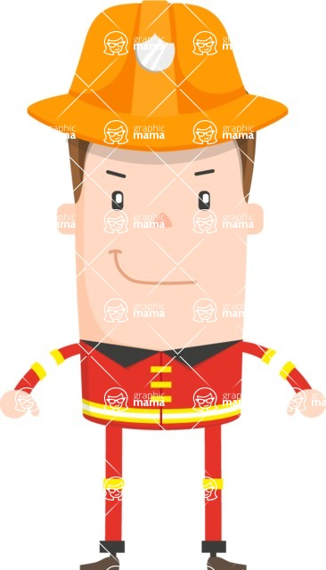 Funny Vector Cartoon Graphic Maker - Confident firefighter