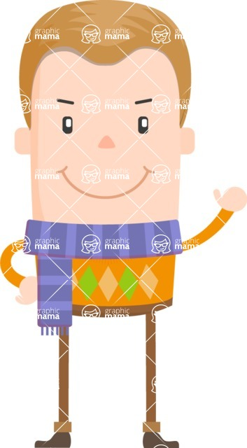 Funny Vector Cartoon Graphic Maker - Guy with purple scarf