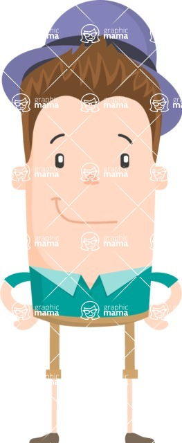Funny Vector Cartoon Graphic Maker - Friendly guy with bowler hat