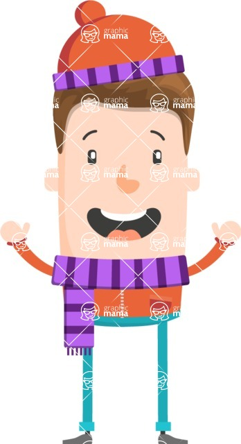 Funny Vector Cartoon Graphic Maker - Excited winter guy