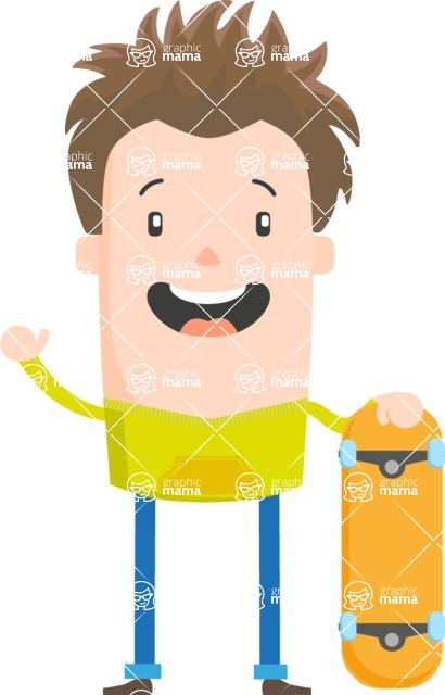 Funny Vector Cartoon Graphic Maker - Skater boy with messy hair