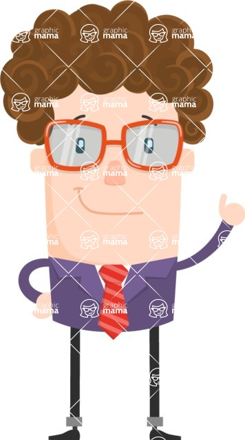 Funny Vector Cartoon Graphic Maker - Curly business guy making a point