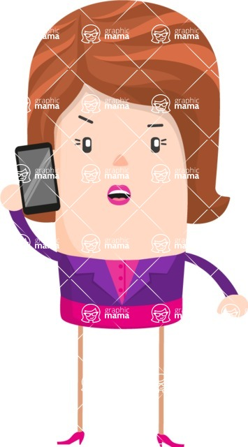 Funny Vector Cartoon Graphic Maker - Serious business lady talking on the phone